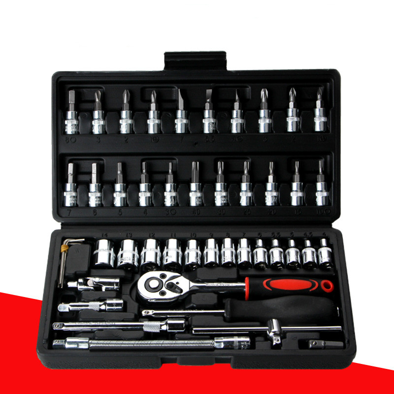 46 Piece Sets Of Chrome Vanadium Steel Sleeve Tool Combination Repair Kit Tool Sleeve Auto Repair Kit