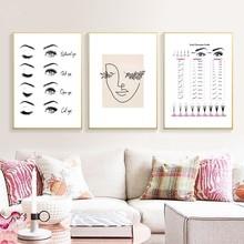 Modernas extensiones de pestañas estampadas maquillaje cuadro sobre lienzo para pared cuadro nórdico decoración salón de belleza regalo para niñas