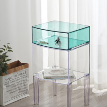 Table-Cabinet-Storage Corner Bedside Modern Pink Green Multilayer Clear Transparent Acrylic