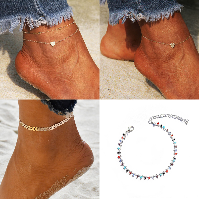 Boho Silver Color barefoot Anklets for Women Foot Chain Bohemian Ankle on Leg Bracelets Female foot Jewelry Summer beach