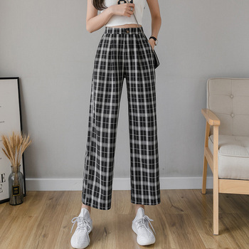 Women Pants Vintage Elastic Waist Plaid Trousers Women High Waist Plus Size Wide Leg Pants Casual Female Korean Trousers  Women 1