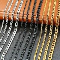 Vnox hommes cubain lien chaîne collier acier inoxydable or noir couleur mâle tour de cou colar bijoux cadeaux pour lui