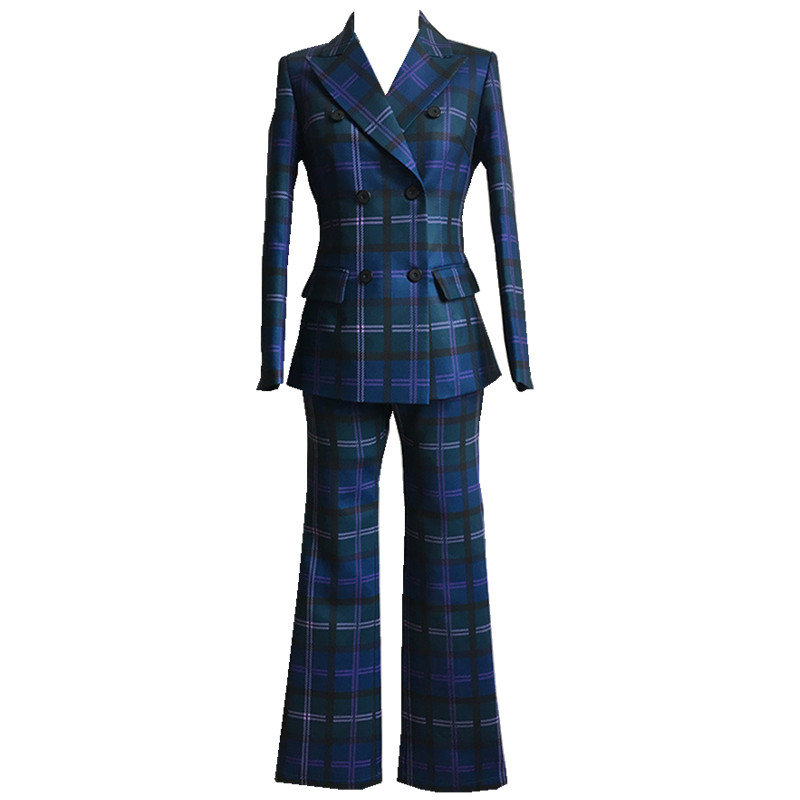 S-3XL high quality new fashion plaid print Slim thick fabric suit double-breasted shirt flared trousers women's suit 48