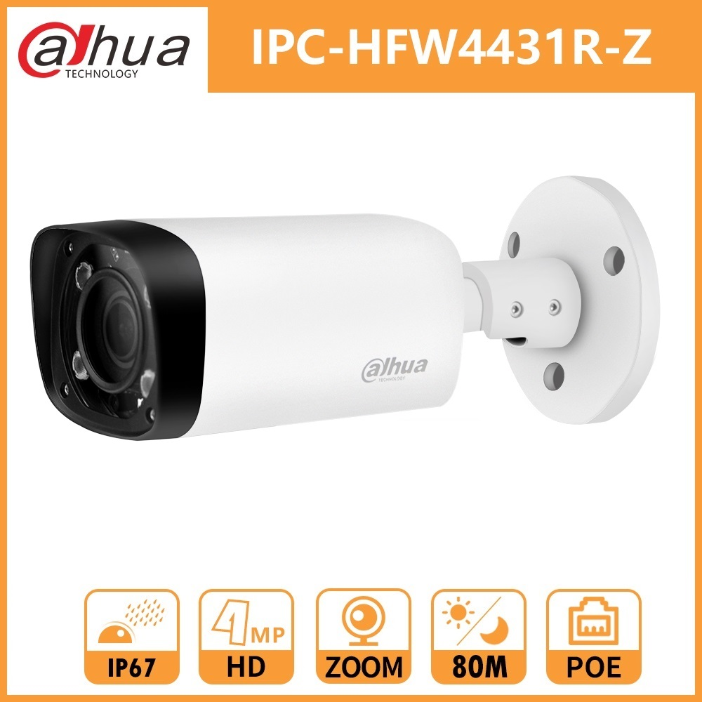 Dahua IPC-HFW4431R-Z DH 4MP Network Bullet Camera IR80M 2.7~12mm Electric Zoom Lens H.265 POE Security Camera