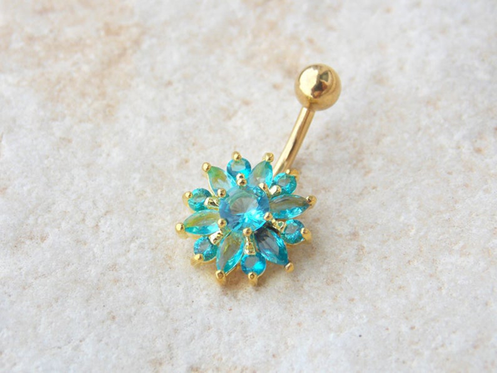 H23897ae15543462ea780c8e54e946494C Navel Piercing Body Jewelry Crystal Flower Belly Button Ring