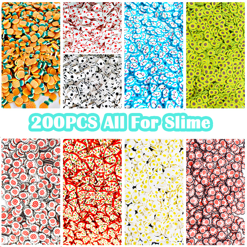 200Pcs Fruit Slices Decor Additives For Slime Filler Supplies Charms Clay Accessories Avocado For Nail Art Slime Toys