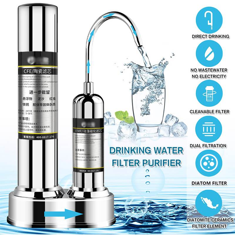 Kitchen Countertop Drinking Water Purifier Ceramic  Activated Carbon Household Filter System Purifying Machine