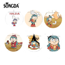 SONGDA Cute Cartoon HILDA 25mm Round Photo Glass Cabochon Demo Flat Back Making Jewelry Fashion DIY Handmade Accessories for Kid(China)