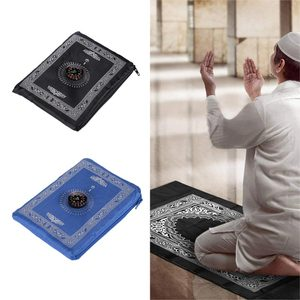 Image 1 - Sale 100*60 Cm Hồi Giáo Cầu Nguyện Thảm Polyester Di Động Đầm Thảm In Có La Bàn Trong Túi Du Lịch Nhà Mới phong Cách Thảm Chăn