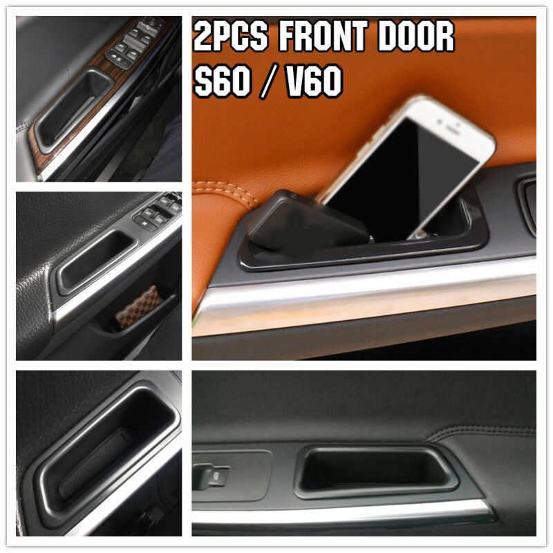 2 шт. черный Передний дверной ящик для хранения для Volvo S60 V60 2010-2017 дверная ручка подлокотник лоток коробка для хранения автомобильные аксессуары