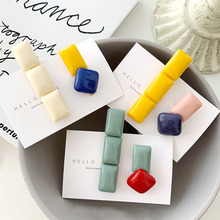 2pcs Japan Vintage Resin Hair Clips long Square Acrylic Hairpins Sweet Geometric Women Barrettes Accessories