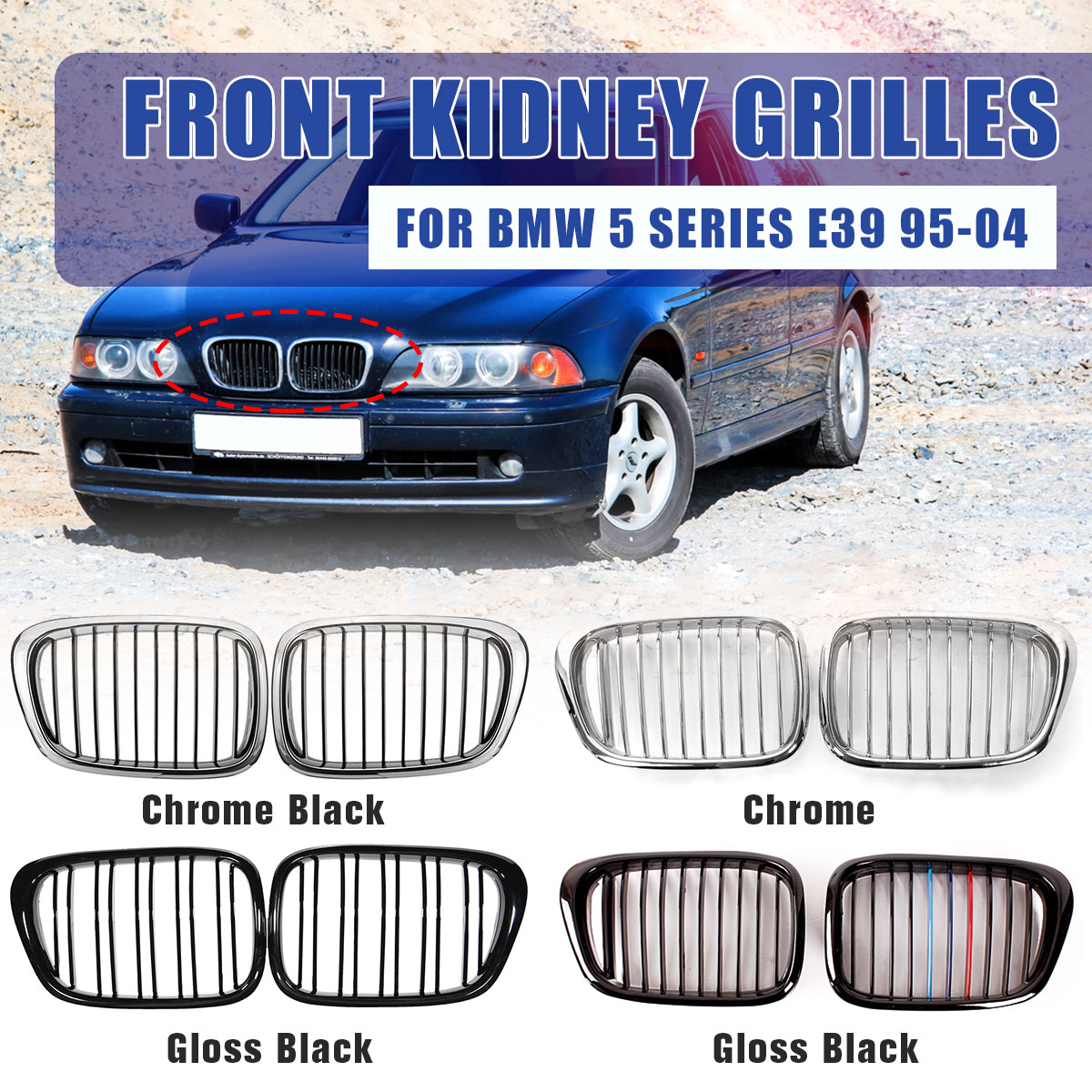 2Pcs Car Front Gloss M-color Kidney Grille Grilles For BMW E39 5 Series 525 528 530 540 M5 1997 1998 1999 2000 2001 2002 2003