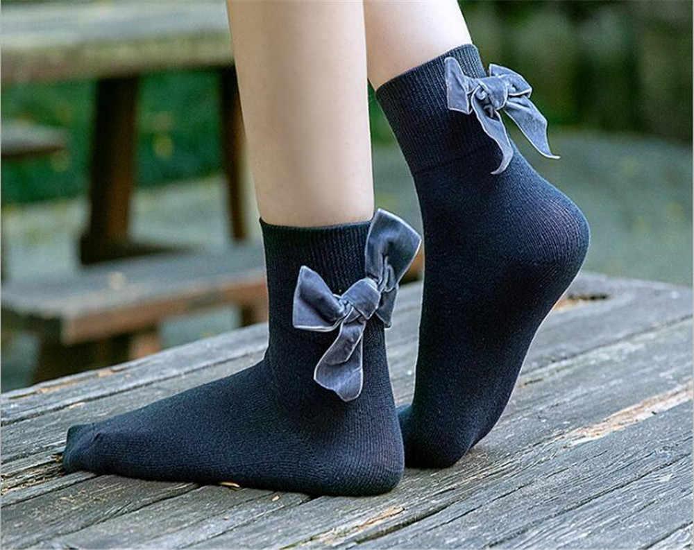 Arco meias lolita estilo japonês donzela linda mulher rendas meias curtas várias cores algodão socking b612
