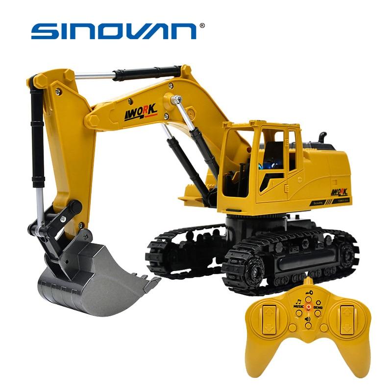 8CH Simulation RC pelle jouets avec musique et lumière enfants garçons RC camion jouets cadeaux RC ingénierie voiture tracteur