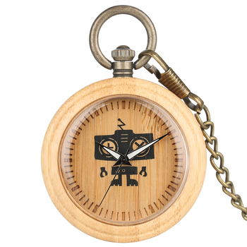 Bamboo Pocket Watches Wooden Clock Robot Pattern Dial Bronze Necklace Chain Women Quartz Pendant Watch reloj de bolsillo hombre 2019 new ebony bronz pocket watches necklacee men quartz pendant watch with chain women gift relojes de bolsillo para hombre