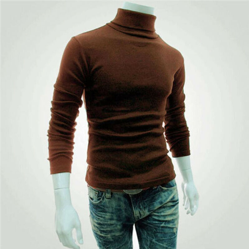 Men Turtleneck Warm Cotton Pullover Fashion Solid Stretch Sweater Casual Slim Knit Basis Autumn Winter Long Sleeve Tops Knitwear