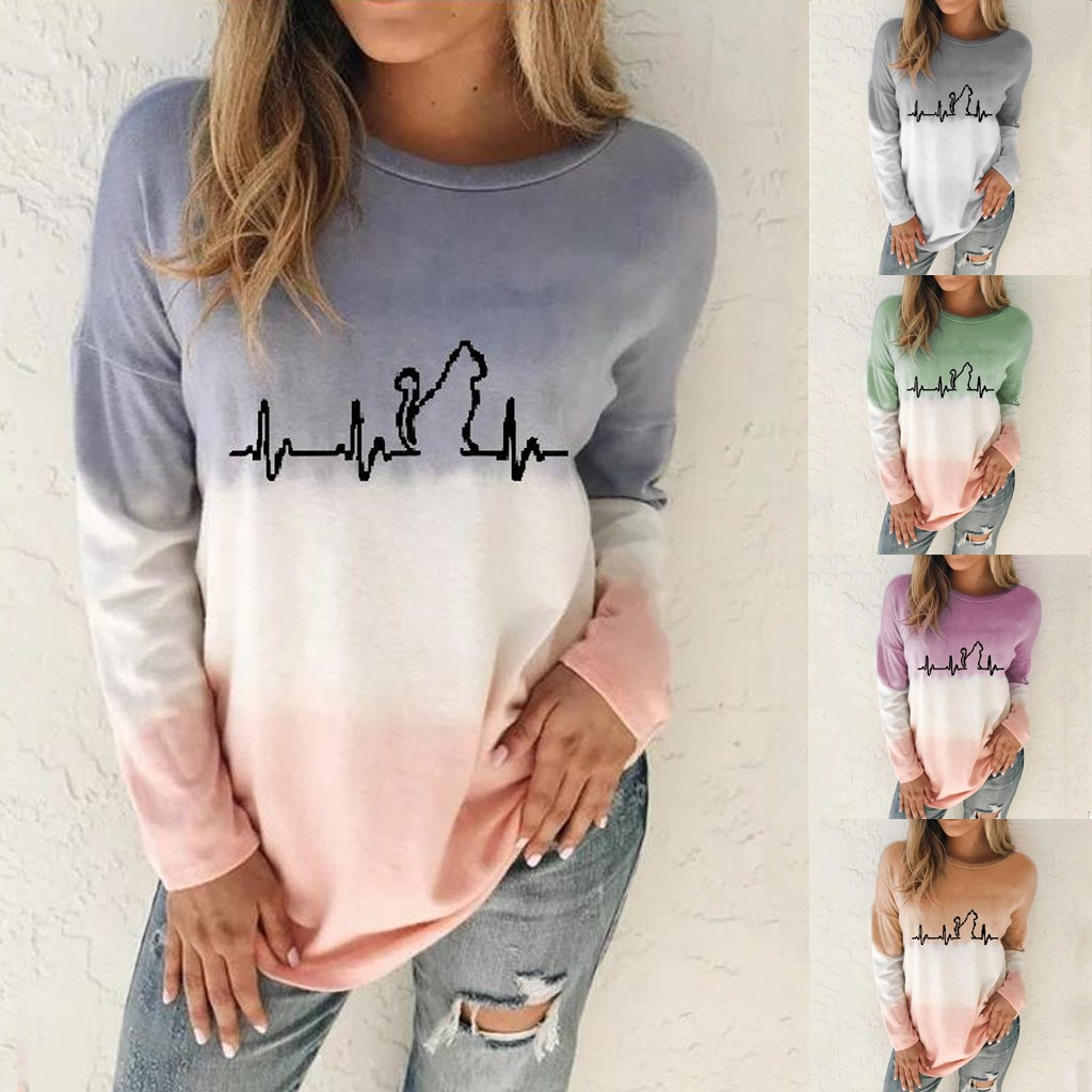 Blouses Woman 2019 Large Size Womens Dyed Cartoon Snowman Printed Pullover Tops S-5XL Long Sleeve Sweatshir Tops S-5xl