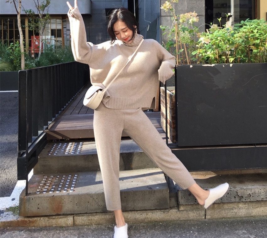 2019 Autumn Winter Women Turtleneck Warm Knit Tracksuit Fashion Split Knitted Sweater 2 Piece Set Elastic Waist Pants Suits