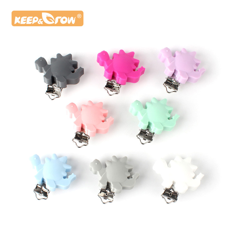 Keep&Grow 1pc Dinosaur Silicone Teether Metal Clip Pacifier Silicone Accessories DIY Baby Teething Necklace Pendant Clamp