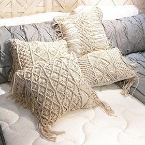 Image 1 - 45*45cm 100% Cotton Linen Macrame Hand woven Cotton Thread Pillow Covers Geometry Bohemia Cushion Covers Home Decor