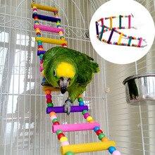 Абсолютно и высокое качество случайный цвет попугай Укус игрушка лестница птица качающаяся подвеска мост лестница деревянные бусины