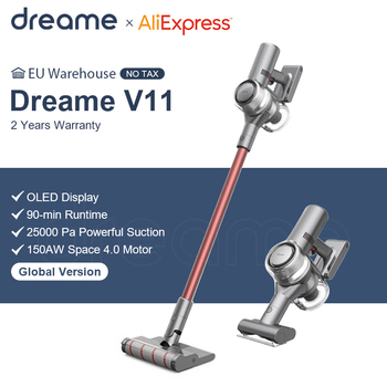 Dreame V11 ручной Беспроводной пылесос OLED Дисплей Портативный беспроводные 25kPa все в одном пылесборник развертки для ковров|Пылесосы|   | АлиЭкспресс