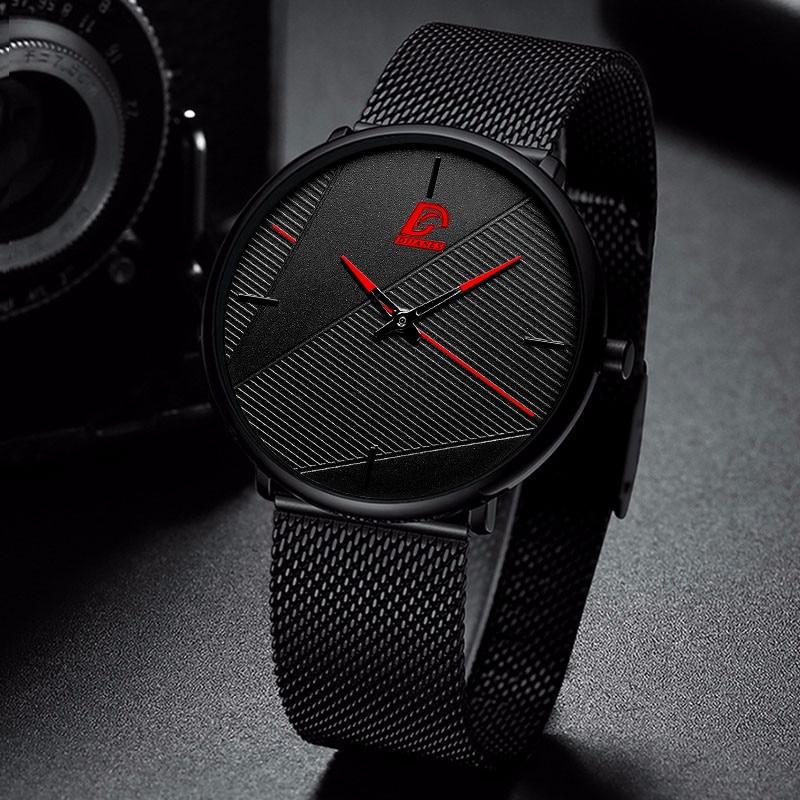 reloj hombre 2021 Fashion Watches Men Classic Black Ultra Thin Stainless Steel Mesh Belt Quartz Wrist Watch relogio masculino 3
