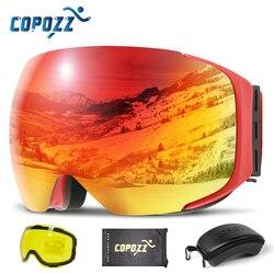 Магнитные лыжные очки COPOZZ, очки для катания на лыжах и сноуборде, антизапотевающие с быстросменной линзой и футляром, со 100% защитой от УФ-луч...