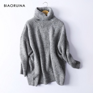 Image 4 - BIAORUINA Women Oversize Basic Knitted Turtleneck Sweater Female Solid Turtleneck Collar Pullovers Warm 2020 New Arrival