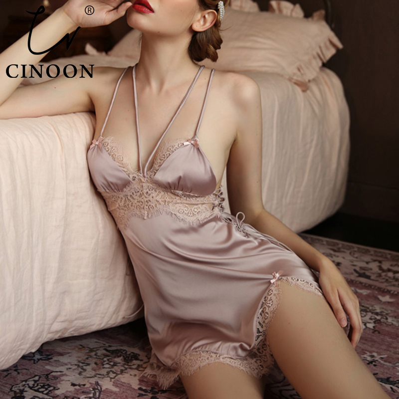 CINOON Sexy Women Satin Sleepwear New Autumn Comfort Home Clothes Lace V-neck Sling Nightdress Backless Hollow Strappy Nightwear