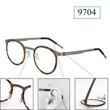 レトロラウンドチタンネジなしメガネフレーム男性眼鏡近視読書眼鏡女性 Oculos デ Grau