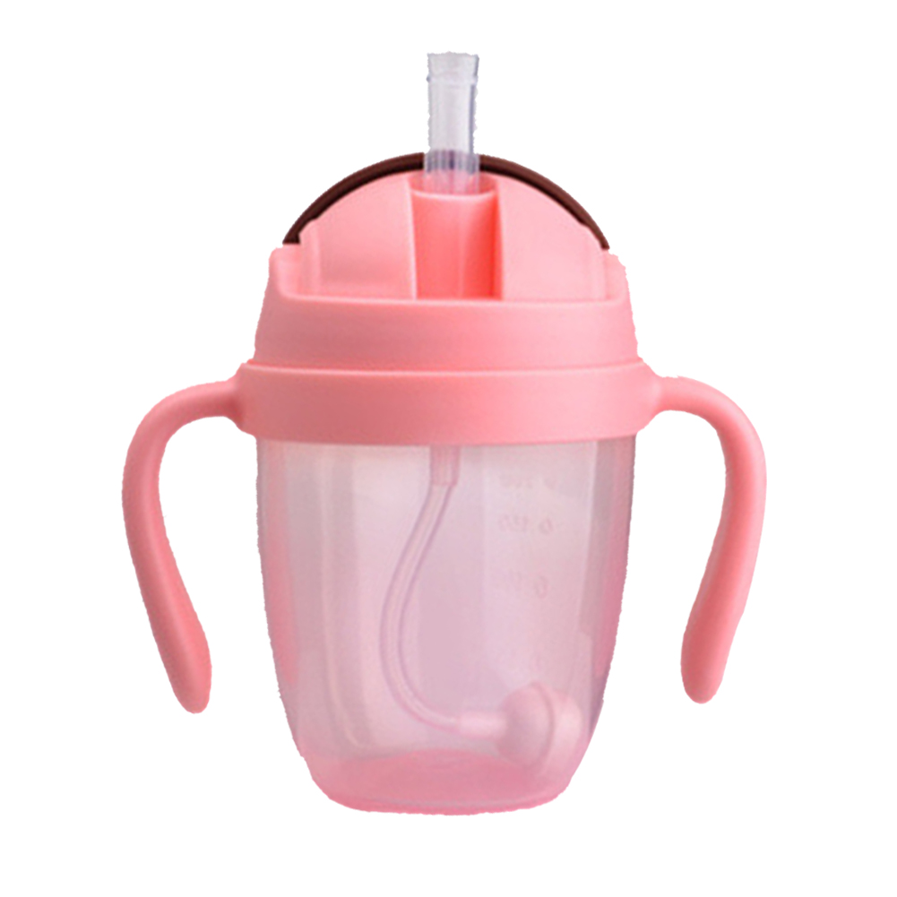 300ml Leakproof Training Non Toxic Cups Water With Handles Milk Suction PP Babies Straw Wide Mouth Feeding Bottle Portable