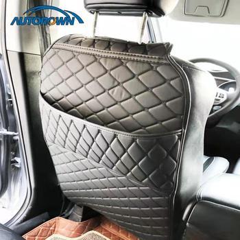 AUTOROWN Защита на заднюю часть сиденья автомобиля из искусственной кожи Органайзер в машину Защитная накидка с карманом из экокожи Универсаль...