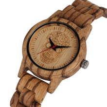 Attractive Quartz Wooden Watch Woman Watches Wood Strap with Skeleton Pattern Dial Quartz Wristwatch Ladies Gifts relojes mujer bobo bird zebra series wood watches simple wooden dial quartz wristwatch for gift