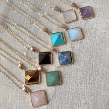 Retro reiki cura chakra pedra colar lapis opal turquesa pirâmide de cristal natural ametistas quartzo pingente colar feminino