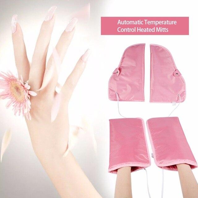 Elektrikli tırnak parafin ağda ısıtmalı eller ayak eldiveni kızılötesi terapi SPA cilt bakımı ısıtmalı balmumu eldivenler tırnak sanat manikür araçları