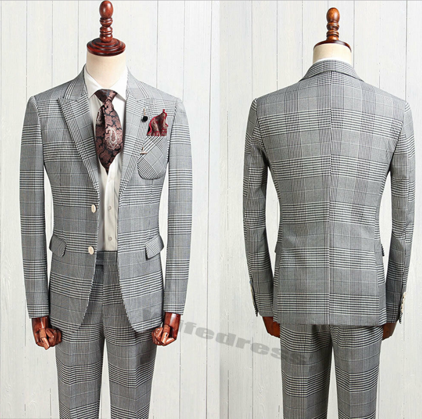 2020 Smart Men's Tweed Houndstooth Dog Tooth British Style 2 Piece Suits Peak Lapel Two Button Formal Tuxedo