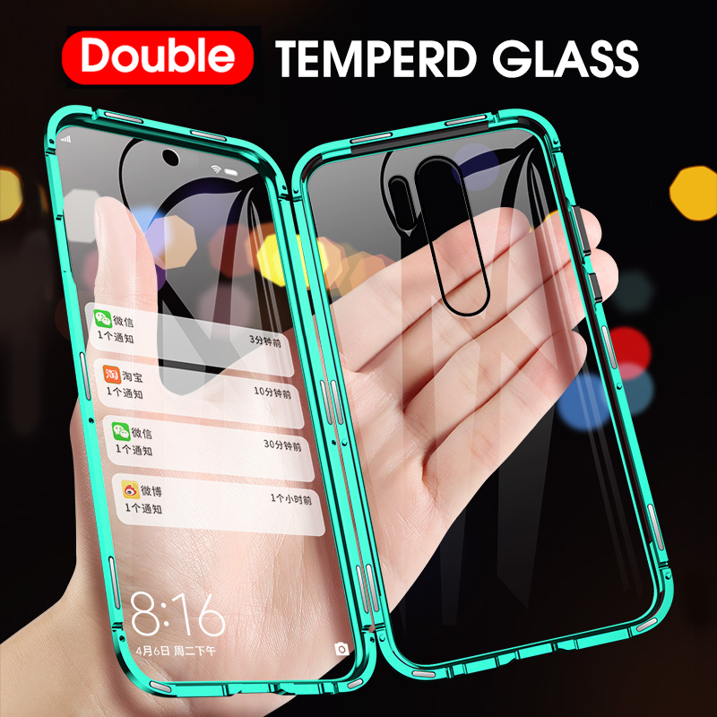 Metal Magnetic Adsorption Case For Xiaomi Redmi Note 8 Pro 7 K20 Mi 9T 10 Pro Double Sided Glass 360 Full Protection Flip Cover