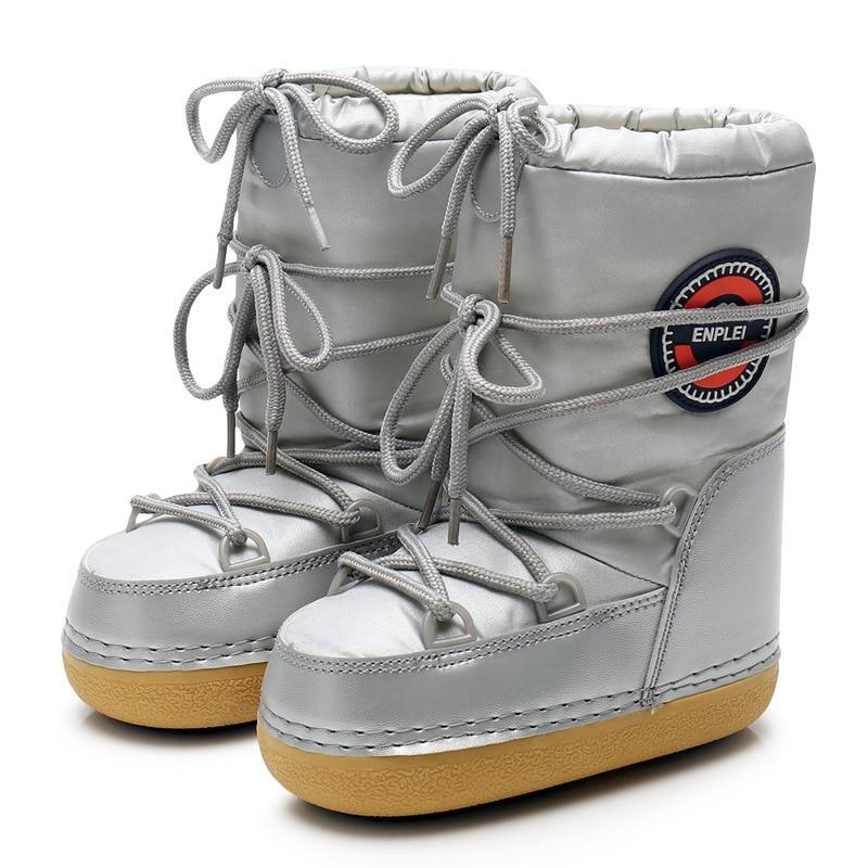 Теплые зимние ботинки на толстой подошве, ботинки без шнуровки, водонепроницаемые Нескользящие милые повседневные зимние ботинки на платф...