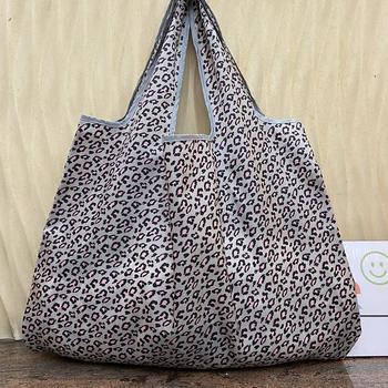 Torby na zakupy wielokrotnego użytku zmywalne torby na zakupy składane torby damskie na ramię torby podróżne wytrzymały i zagęszczony Nylon tanie i dobre opinie CN (pochodzenie) WOMEN PANTERKA Bez suwaka Na co dzień