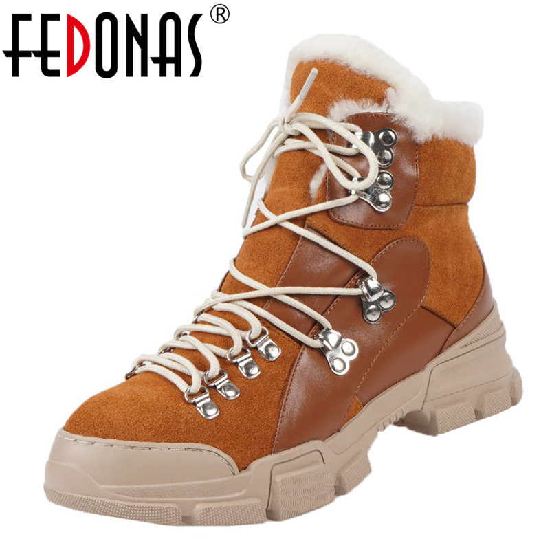 FEDONAS Cross Tied Women Quality Genuine Leather Ankle Boots Casual Office Shoes Woman Winter Vintage Warm Female Snow Boots 37