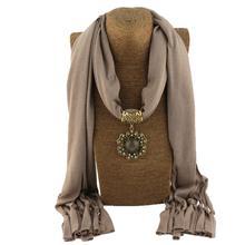 Jzhifiyer scarf women bead foulard pendant jewelry necklace feminino summer fashion neckwear stole jersey hijab bufandas