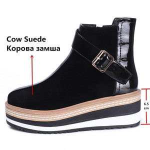 Image 3 - FEDONAS Cow Suede Leather Women Ankle Boots Warm Autumn Winter Riding Boots Platforms Zipper Shoes Woman High Heels Female Shoes