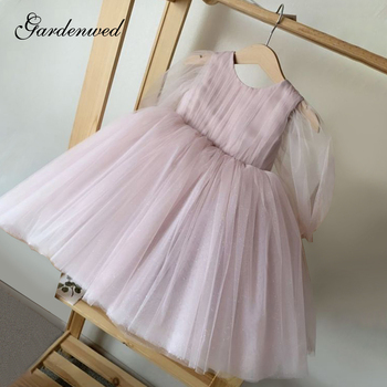 Simple Puffy Tulle Communion Dress Girl Pink Oneck Flower Girl Dresses Kids Transparent Sleeves Girl Party Dresses Ball Gown 2017 new flower girl dresses long sleeves o neck back sheer tulle ball gown kids prom evening party communion dresses vestidos