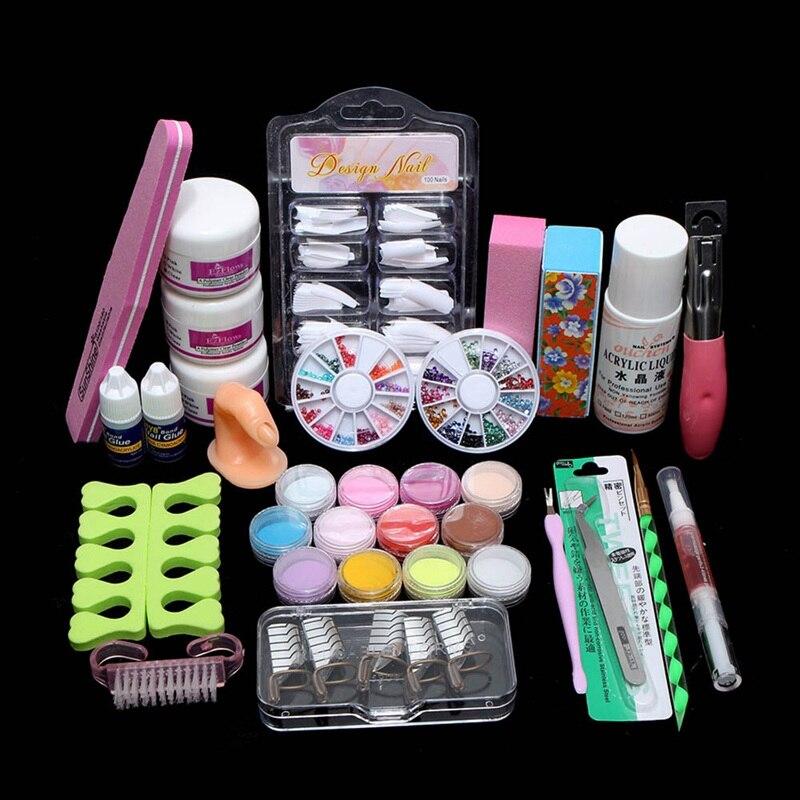 New Professional Acrylic Liquid Powder Flash Primer Nail Tools Nail Supplies Set Nail Tips Tool Brush Tool Set Kit