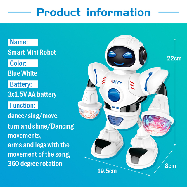 KaKBeir Mini RC Robot with lighting Music Dancing Intelligent Model Simulated walking robots Early educational Toys for children 5