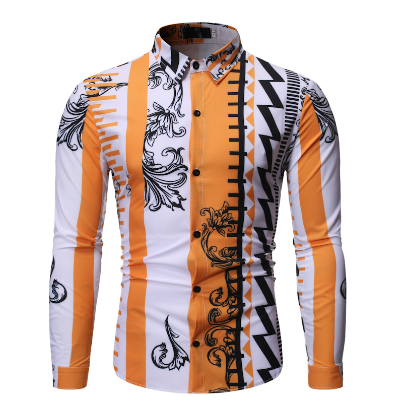 New Fashion Geometric Contrast Style Design, Casual Color Matching Lapel Men's Long Sleeve Flower Camisa Masculina Shirt