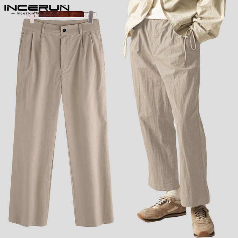 INCERUN Men Casual Pants Button Cotton Solid Loose Joggers Vintage Business Leisure Straight Pants Streetwear Trousers Men S-5XL