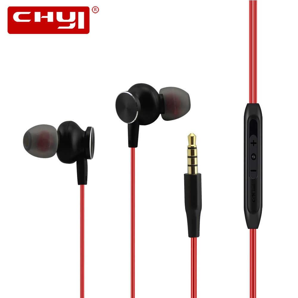 Chyi fone de ouvido com fio de metal com micro 3.5mm linha tipo mp/mp4 música magnético fones de ouvido para iphone xiaomi telefone
