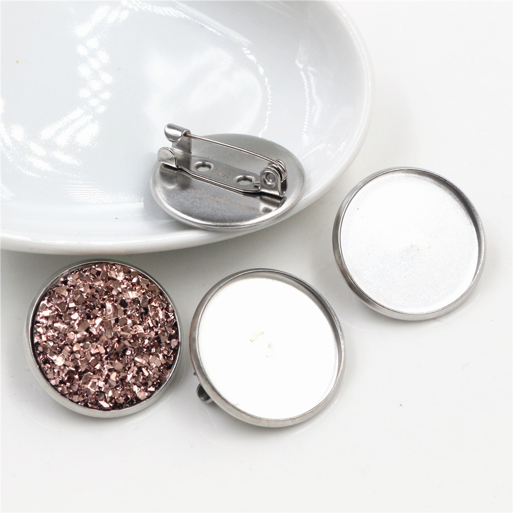 ( No Fade ) 10pcs 20mm Inner Size Stainless Steel Material Brooch Style Cabochon Base Cameo Setting Charms Pendant Tray (D2-36)